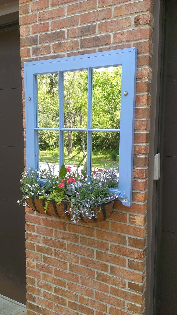 Old Window Turned Into Mirror Wall Decor #old #window #garden #decorhomeideas