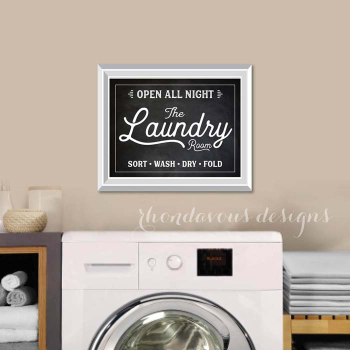 Open All Night Laundry Room Print #laundry #vintage #decor #decorhomeideas