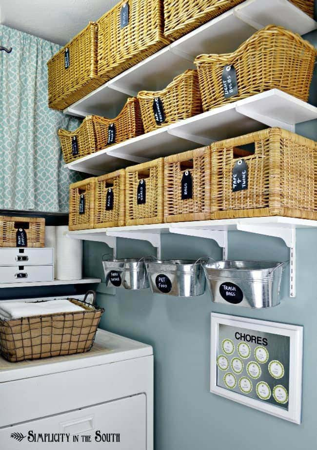 Open Shelf Laundry Storage with Baskets #laundry #vintage #decor #decorhomeideas