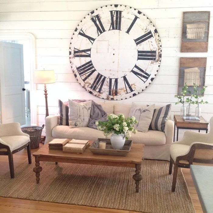 Oversized Clock Display #wall #decor #sofa #decorhomeideas