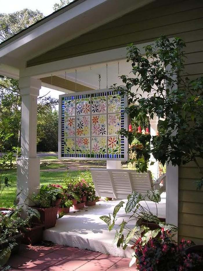 Painted Window Hanging by the Swing #old #window #garden #decorhomeideas