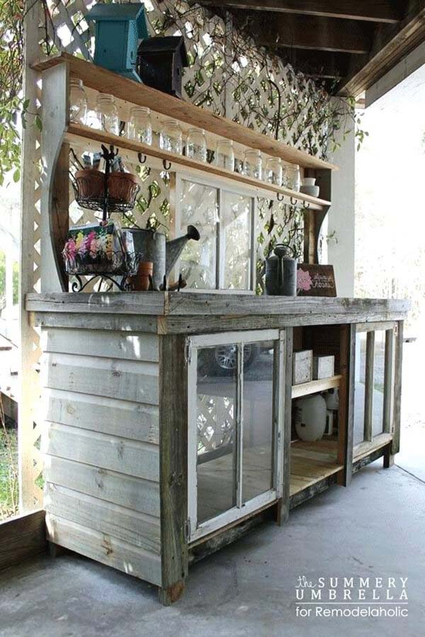 Potting Bench with Window Accents #old #window #garden #decorhomeideas