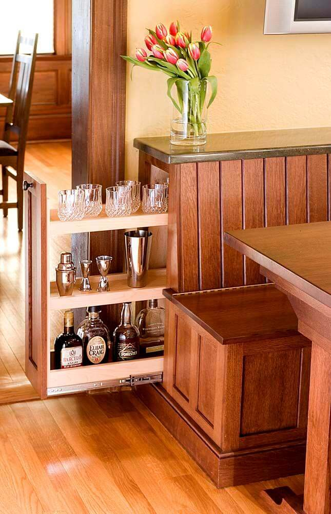Pull Out Liquor Cabinet #hideaway #projects #decorhomeideas
