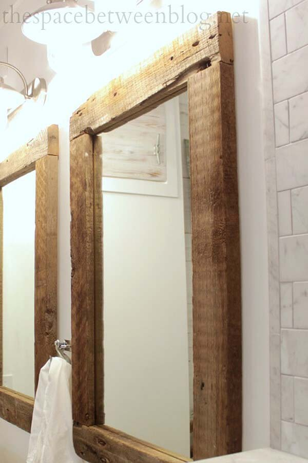 DIY Reclaimed Wood Framed Mirrors #reclaimed #wood #projects #decorhomeideas