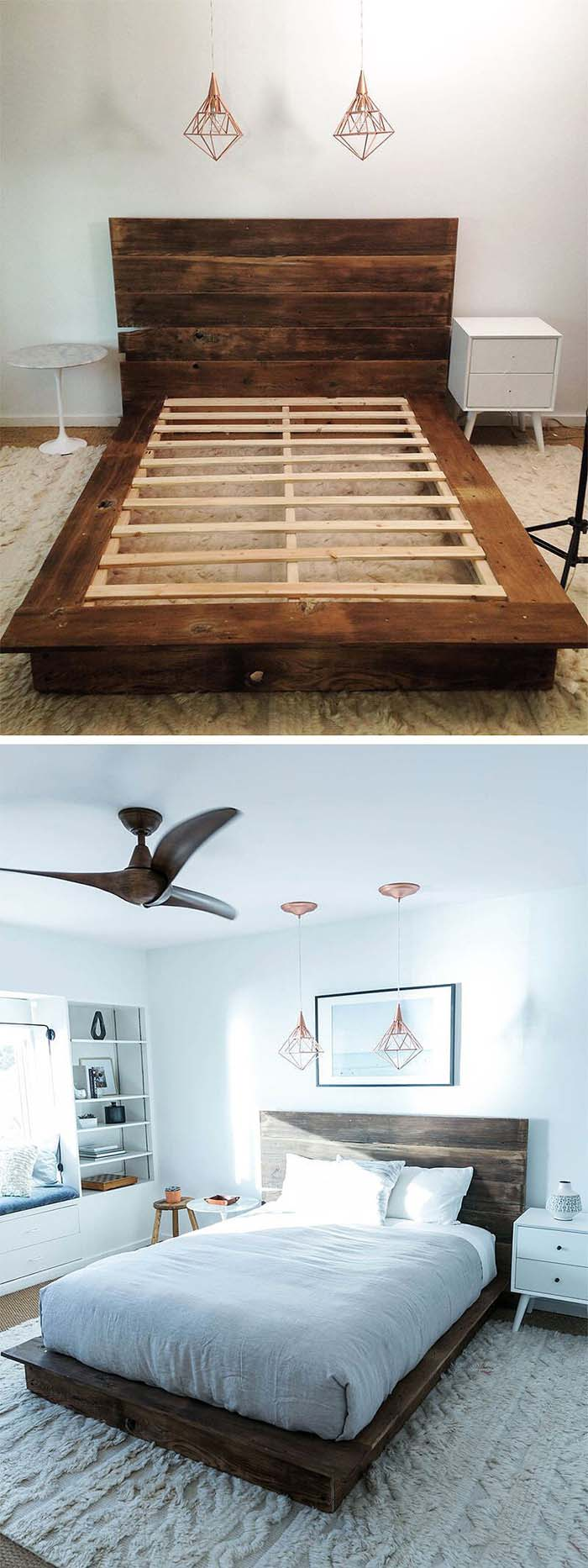 DIY Reclaimed Wood Platform Bed #reclaimed #wood #projects #decorhomeideas