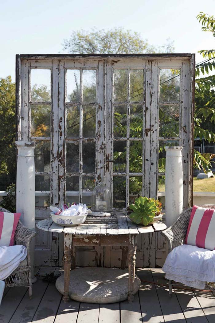 Recycled French Doors as a Divider #old #window #garden #decorhomeideas