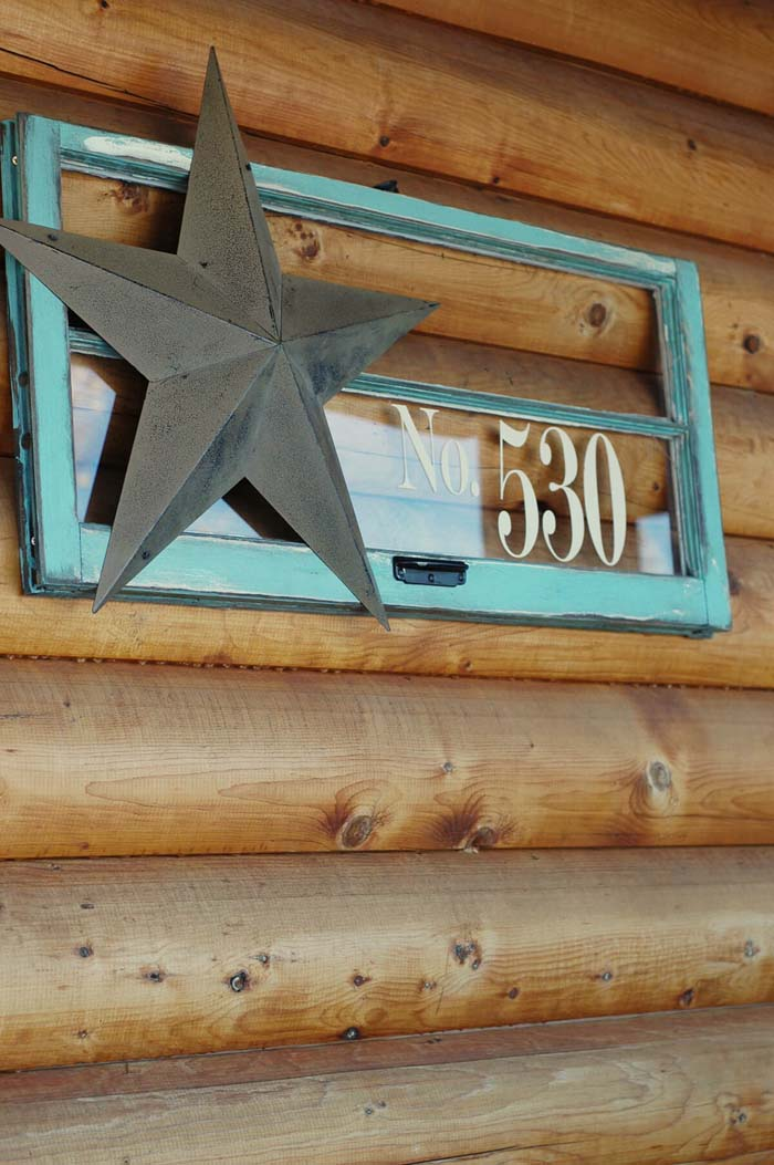Repurposed Window Display With House Number #old #window #garden #decorhomeideas