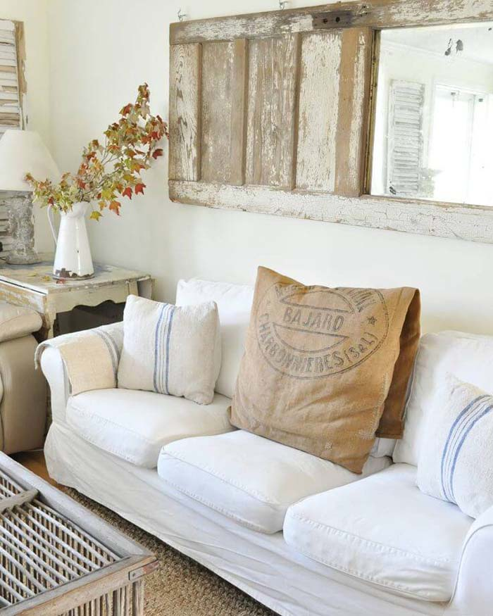 Repurposed Wooden Mirror #wall #decor #sofa #decorhomeideas