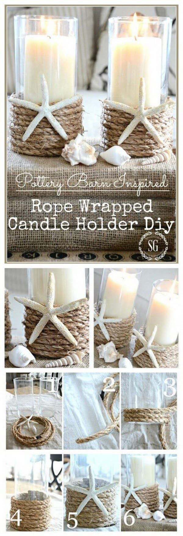 Rope Wrapped Candleholder #diy #seashell #decor #decorhomeideas
