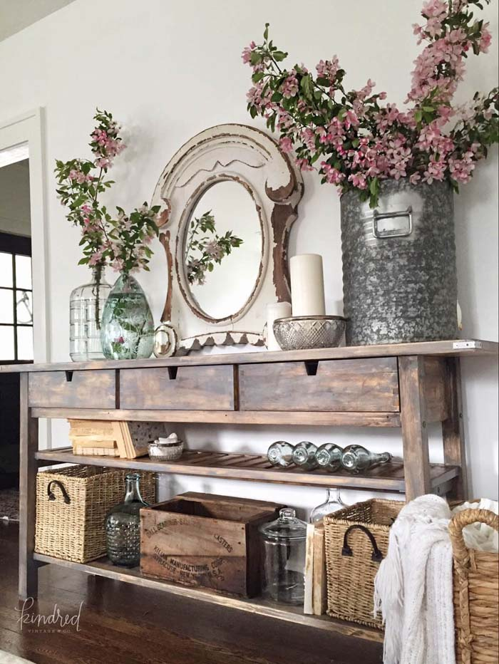 Rustic Apothecary Style #entry #table #decorhomeideas