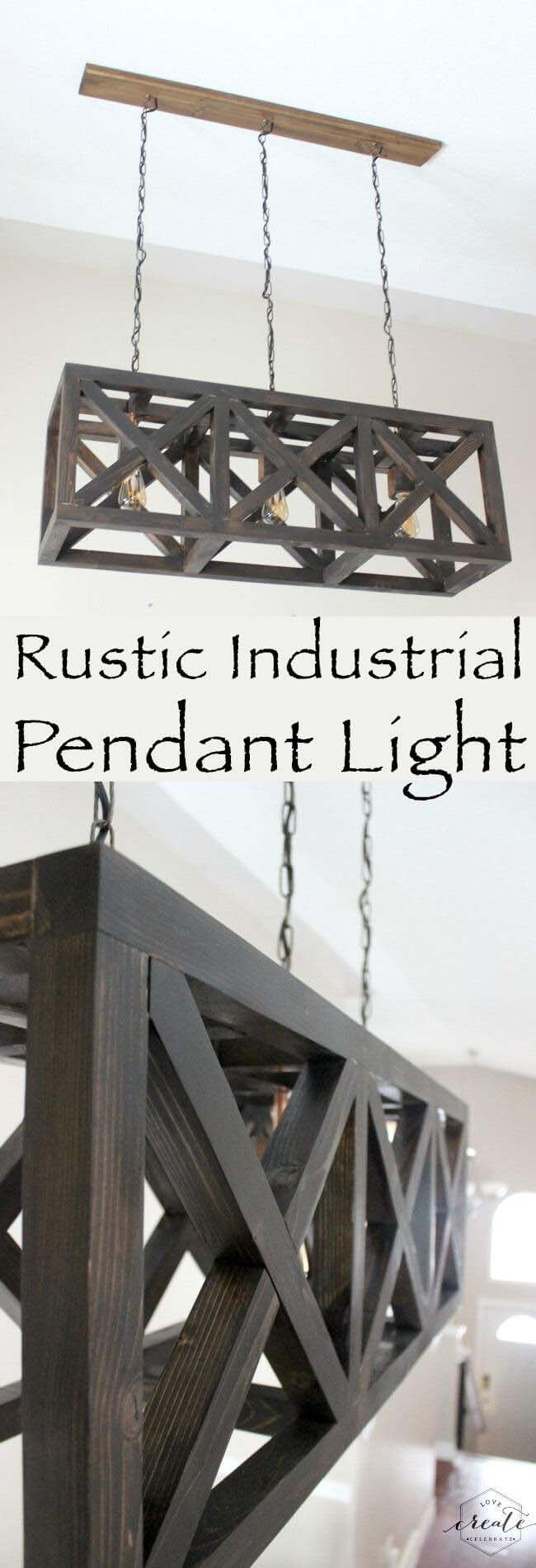 Rustic Industrial Pendant Light #reclaimed #wood #projects #decorhomeideas
