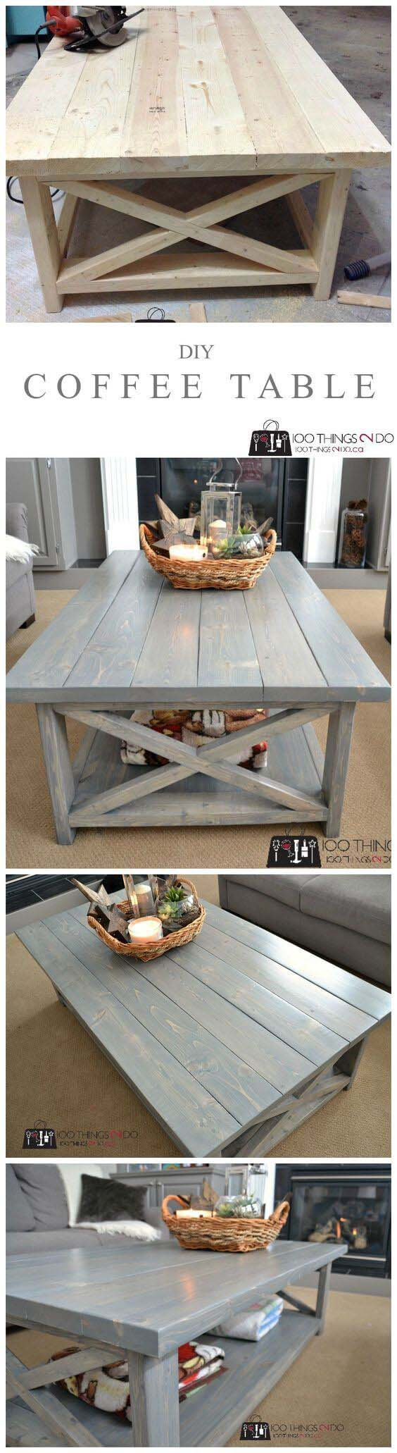DIY Rustic X Coffee Table #reclaimed #wood #projects #decorhomeideas