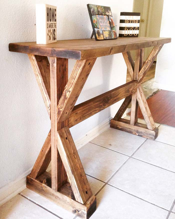 Rustic X-Entryway Table #entry #table #decorhomeideas