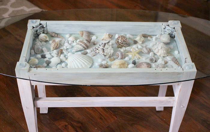 Sea Shell Shadow Box Table #diy #seashell #decor #decorhomeideas