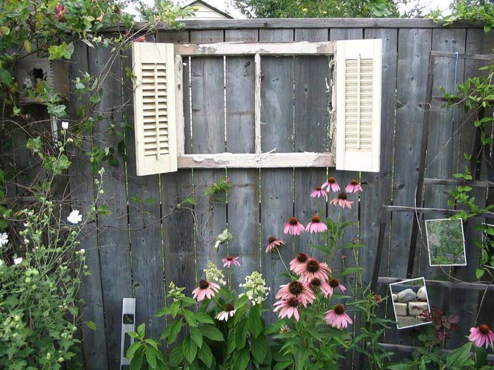 Shuttered Window on the Fence #old #window #garden #decorhomeideas