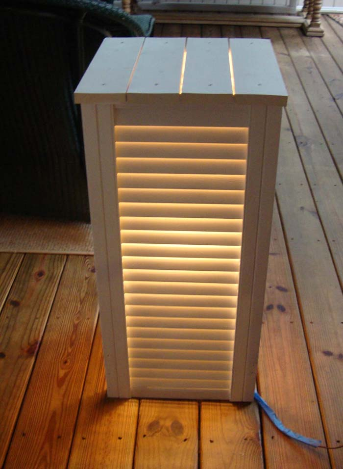 Side Table with Lights #shutter #repurpose #decor #decorhomeideas