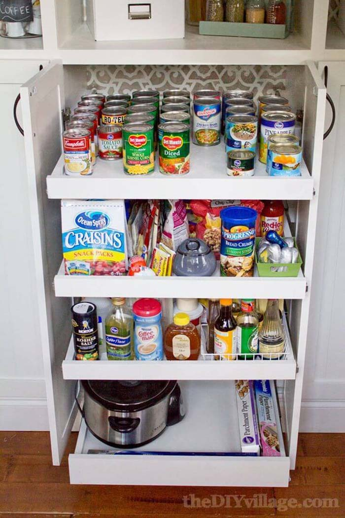 Slide-Out Shelves Under the Counter #pantry #storage #organization #decorhomeideas