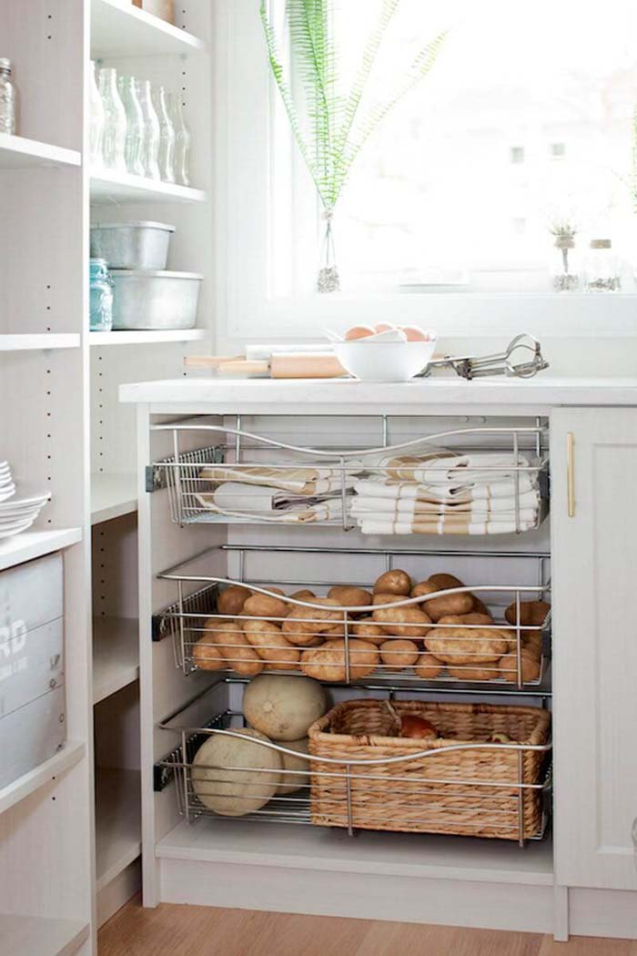 Sliding Wire Drawers Under the Counter #pantry #storage #organization #decorhomeideas