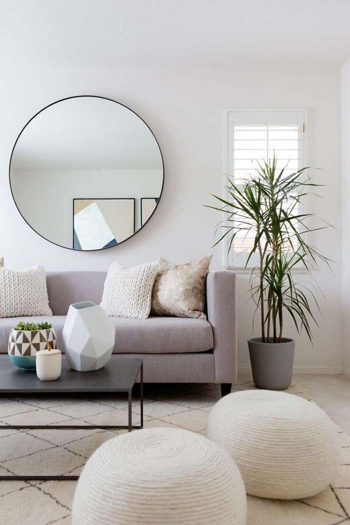 Stylish Circular Mirror #wall #decor #sofa #decorhomeideas