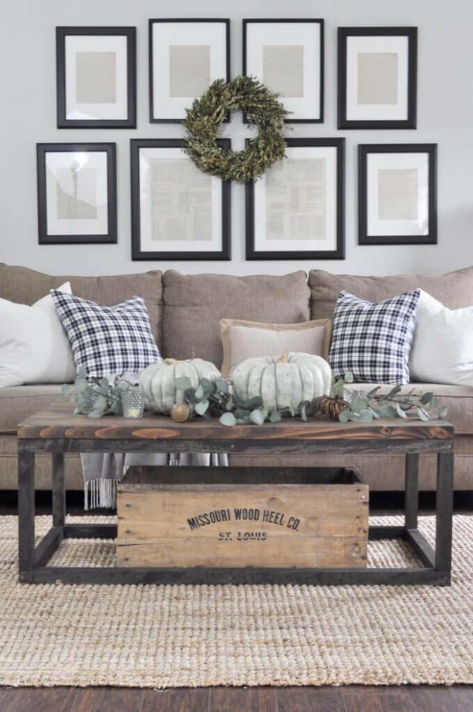 Symmetry Framing Display and Wild Wreath #wall #decor #sofa #decorhomeideas
