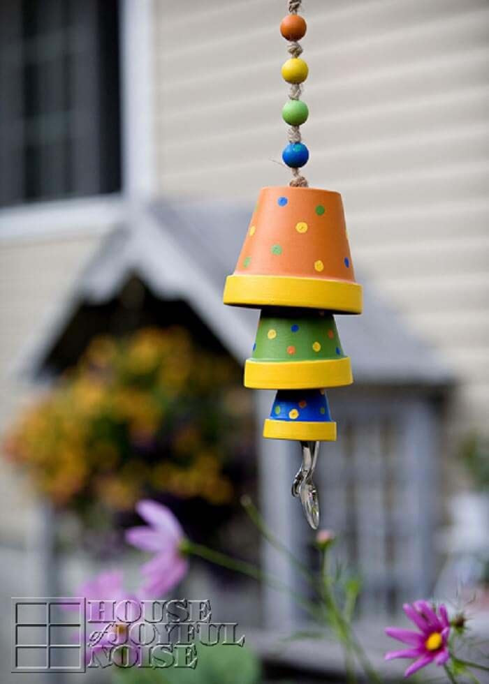 Terracotta Flower Pot Wind Chime #flowerpot #clay #garden #decorhomeideas