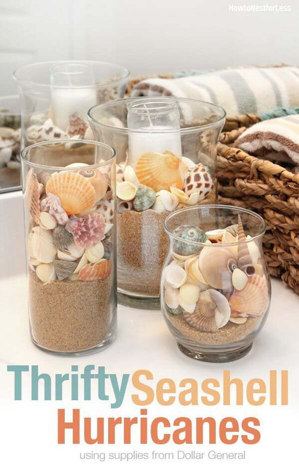 Thrifty Seashell Hurricanes #diy #seashell #decor #decorhomeideas