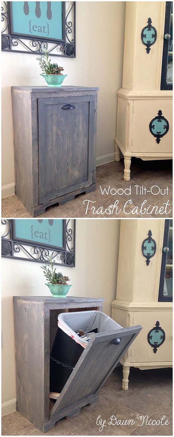 Trash Can Cabinet #reclaimed #wood #projects #decorhomeideas