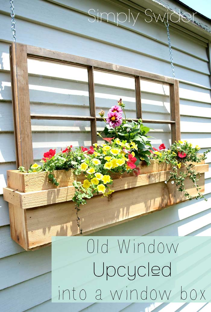 Upcycled Window Frame Box Planter #old #window #garden #decorhomeideas