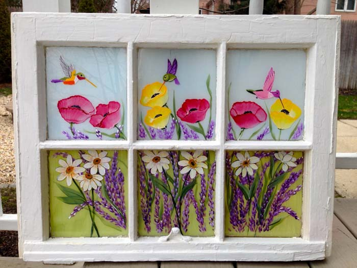Vintage Hand Painted Window #old #window #garden #decorhomeideas