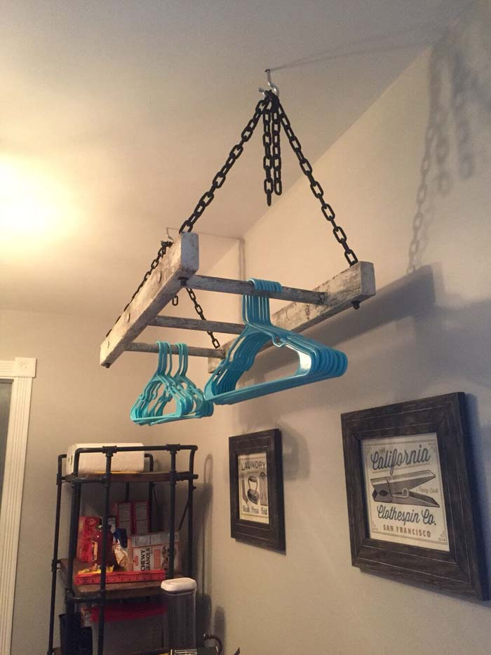 Vintage Laundry Room Ladder Rack #laundry #vintage #decor #decorhomeideas