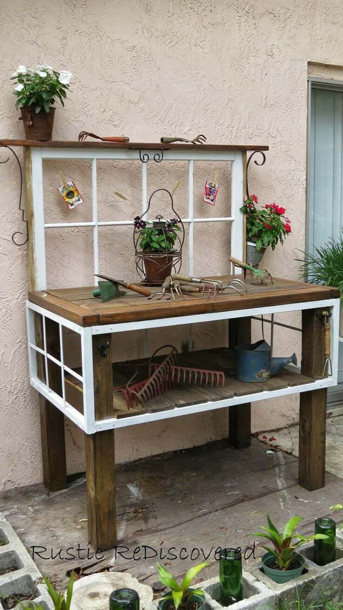 Vintage Tool Potting Bench #old #window #garden #decorhomeideas