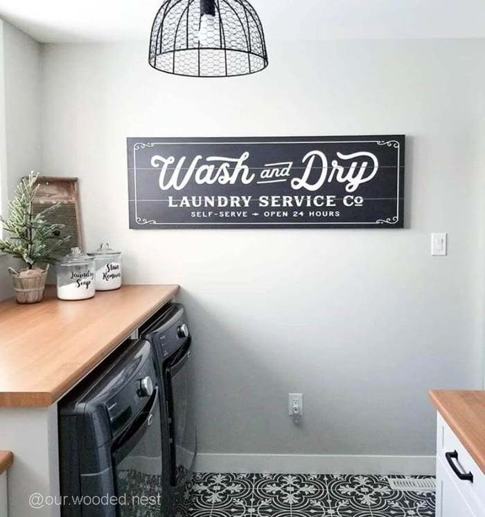 Vintage Wash and Dry Sign #laundry #vintage #decor #decorhomeideas