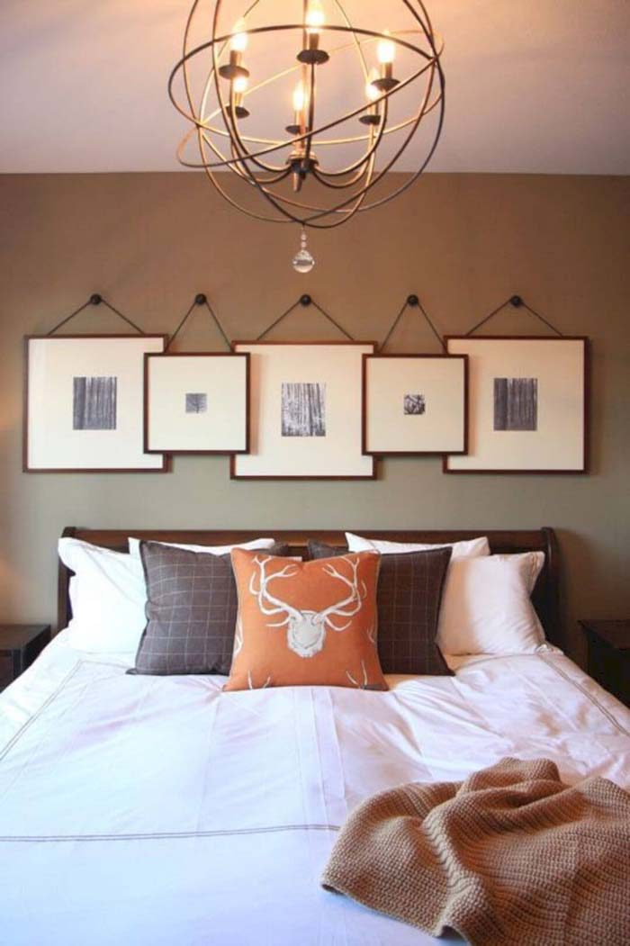 Wall Display with Overlapping Square Frames #bedroom #wall #decor #decorhomeideas