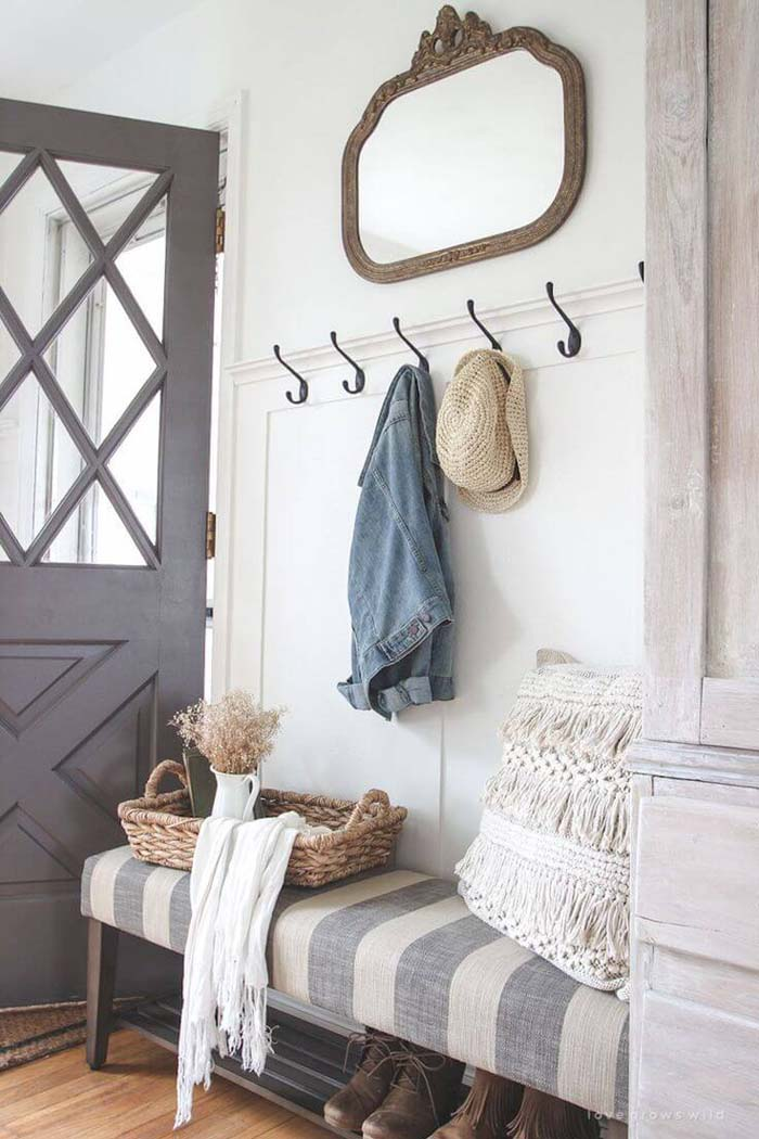 Wall Hooks on White and Gray-Striped Bench #small #entryway #decor #decorhomeideas