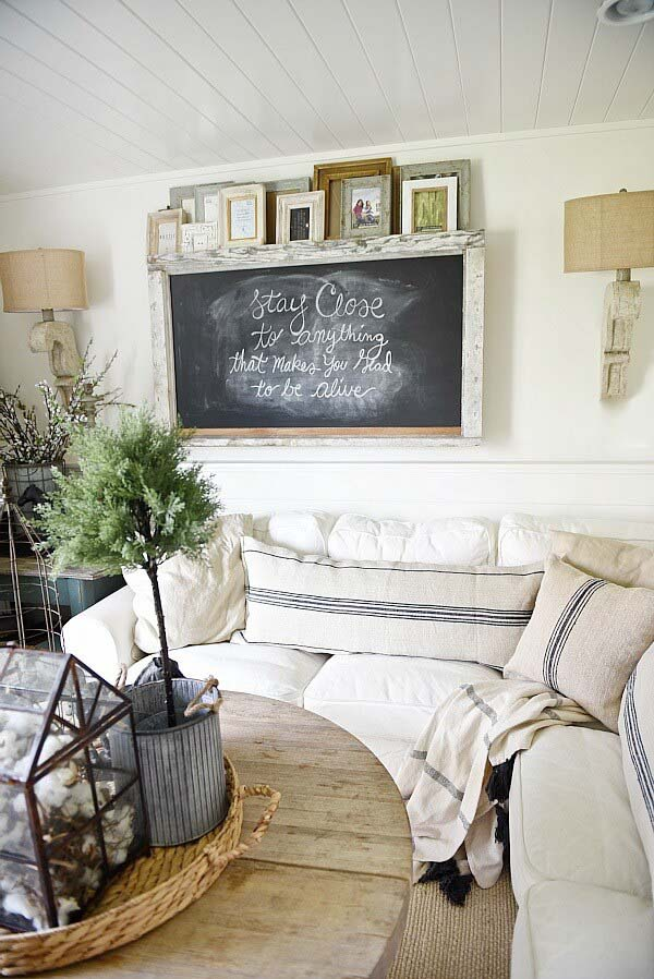 Wall Mounted Chalkboard #wall #decor #sofa #decorhomeideas