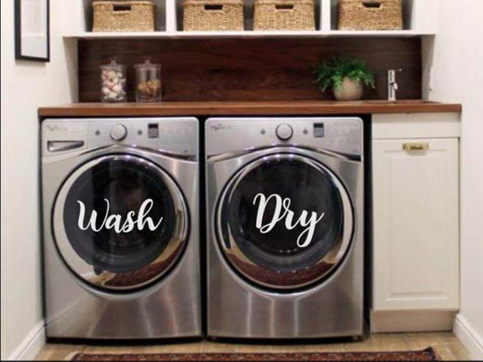 Wash and Dry Vinyl Decals #laundry #vintage #decor #decorhomeideas