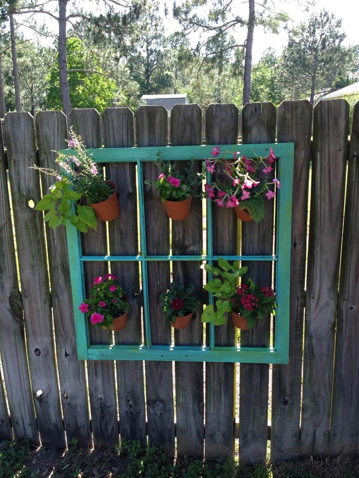 Window Frame for Hanging Plant Pots #old #window #garden #decorhomeideas