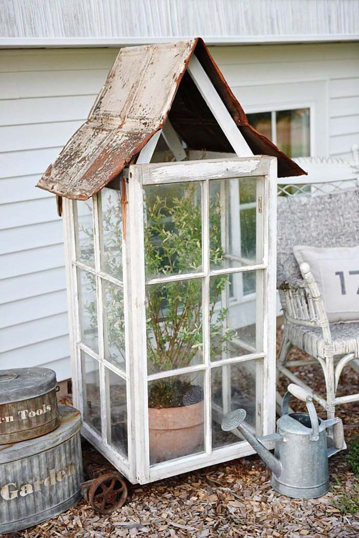 DIY Window Greenhouse #old #window #garden #decorhomeideas