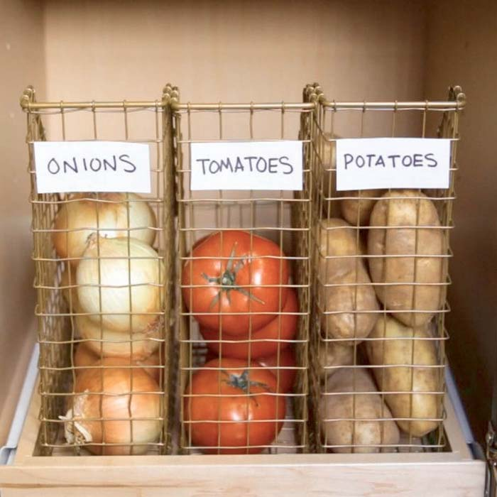 Wire Magazine Boxes for Vegetables #pantry #storage #organization #decorhomeideas