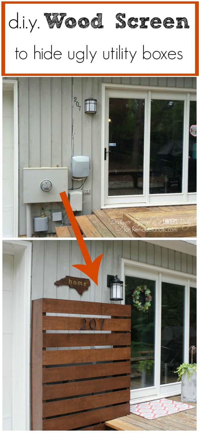 DIY Wood Screen To Hide Utility Boxes #outdoor #hiding #ideas #decorhomeideas