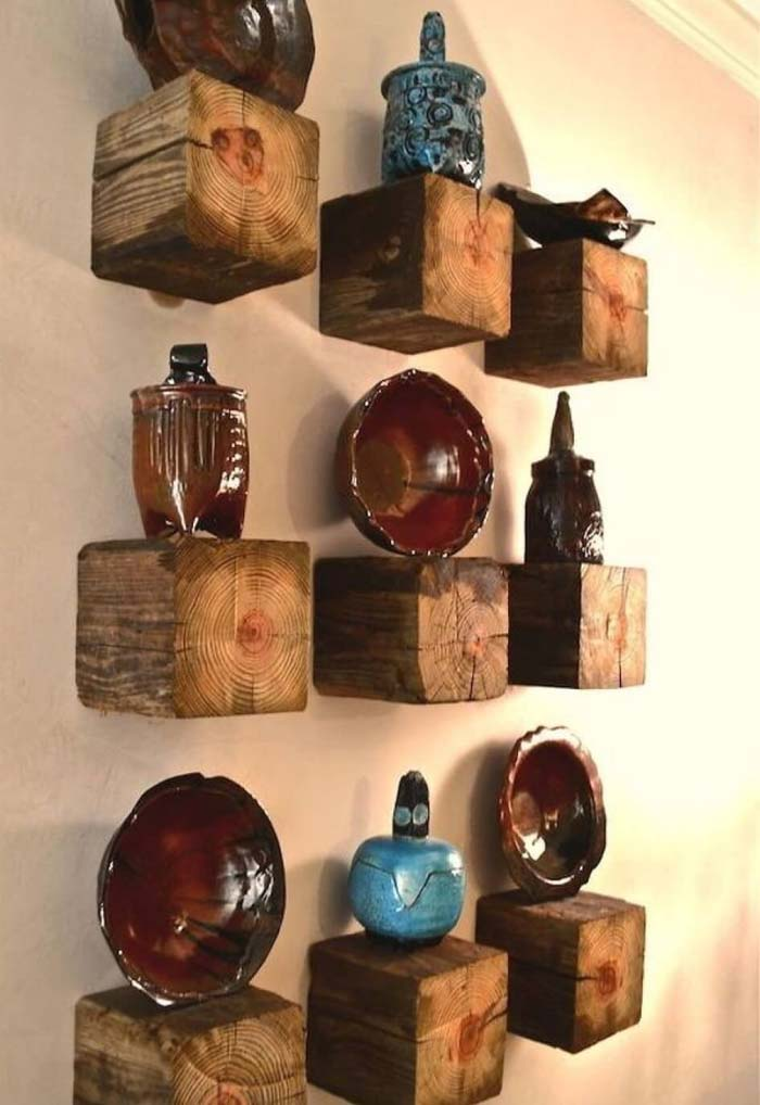 Wooden Cube Tiered Shelving #reclaimed #wood #projects #decorhomeideas