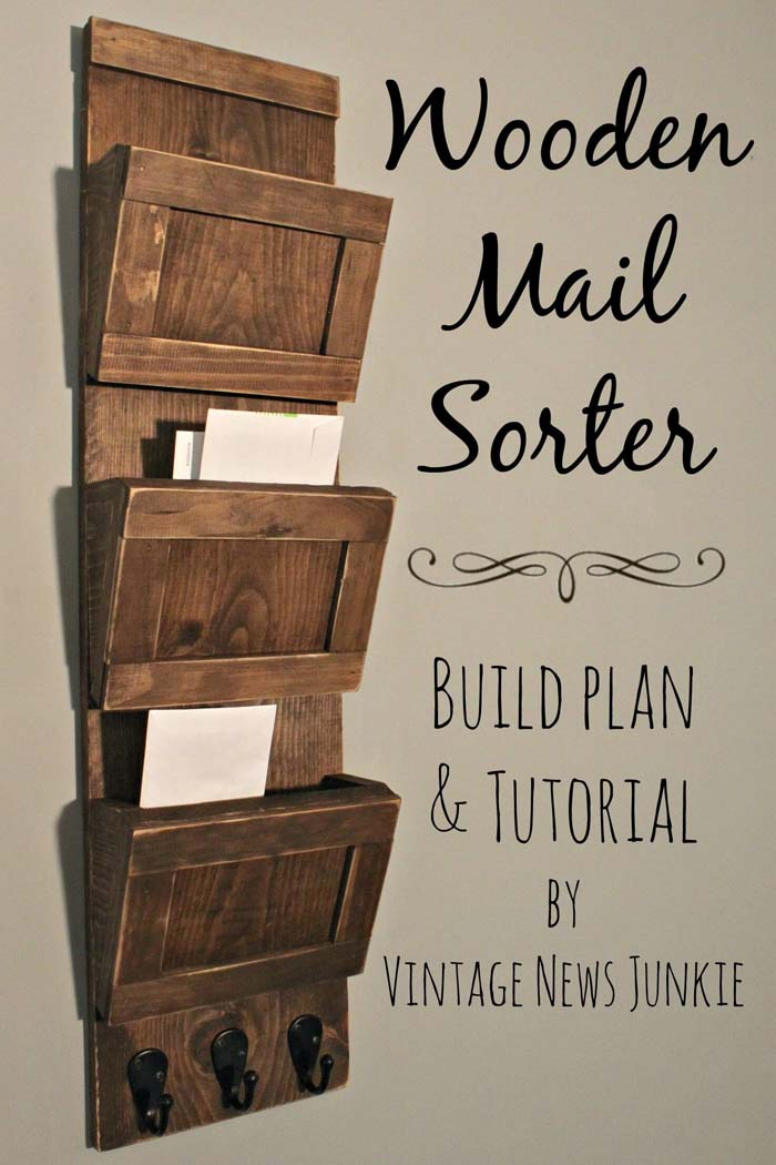 Wooden Mail Sorter #reclaimed #wood #projects #decorhomeideas