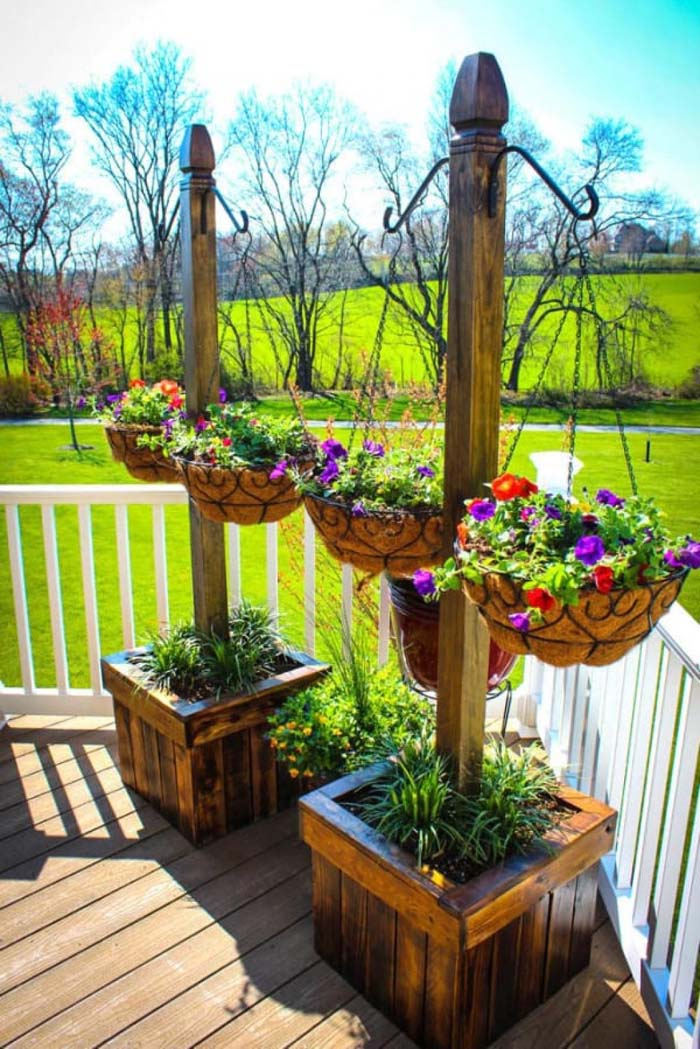 Wooden Poles With Hanging Planters #porch #decorartion #decorhomeideas
