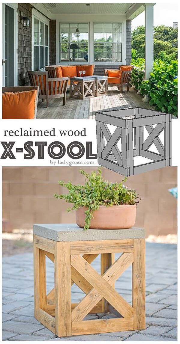 X-Frame Cube Patio Stool #reclaimed #wood #projects #decorhomeideas