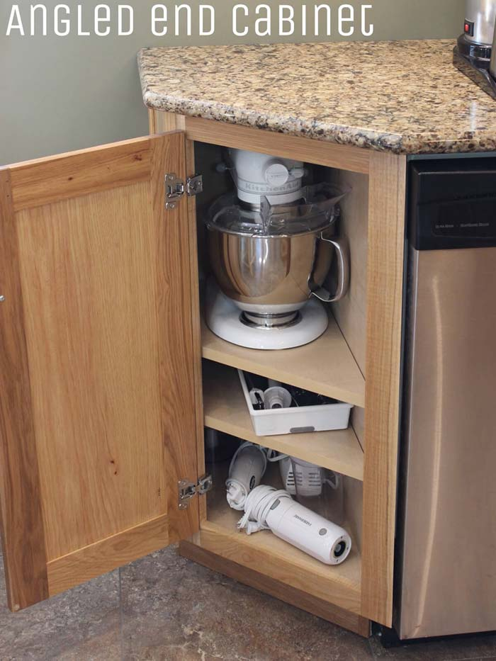 Angled End Cabinet for Appliances #storage #corner #organization #decorhomeideas
