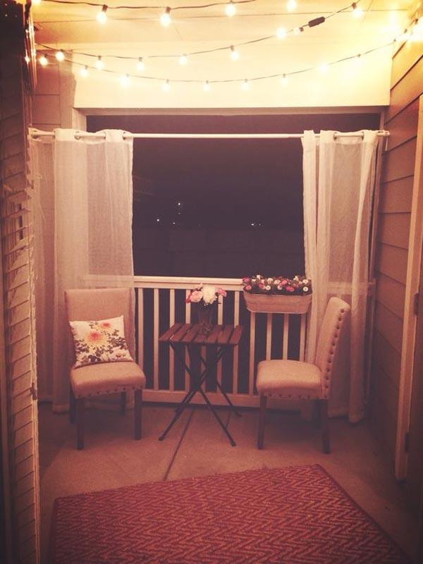 Balcony Lighting with Privacy Curtains #stringlight #garden #yard #decorhomeideas