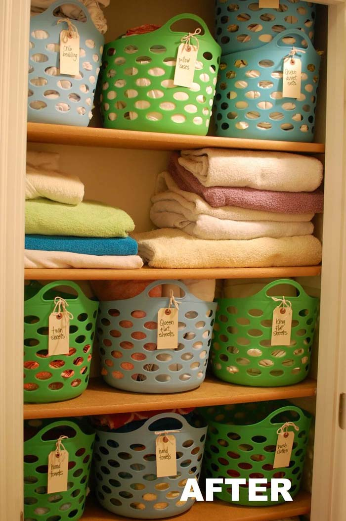 Baskets and Labels Dollar Store Organization Ideas #dollarstore #storage #organization #decorhomeideas
