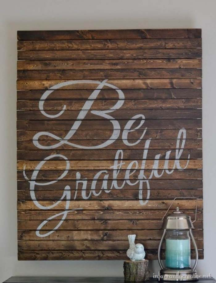 Be Grateful Pallet Art #diy #pallet #sign #decorhomeideas