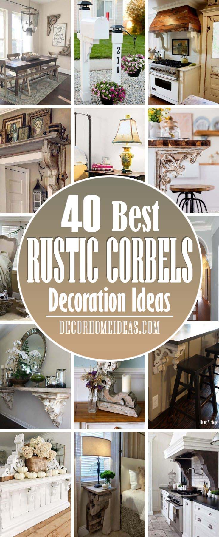 Best Decorating Ideas With Rustic Corbels. Vintage corbels that once acted as architectural accents get a second chance as farmhouse decor. These formerly weight-bearing brackets look great. #decorhomeideas