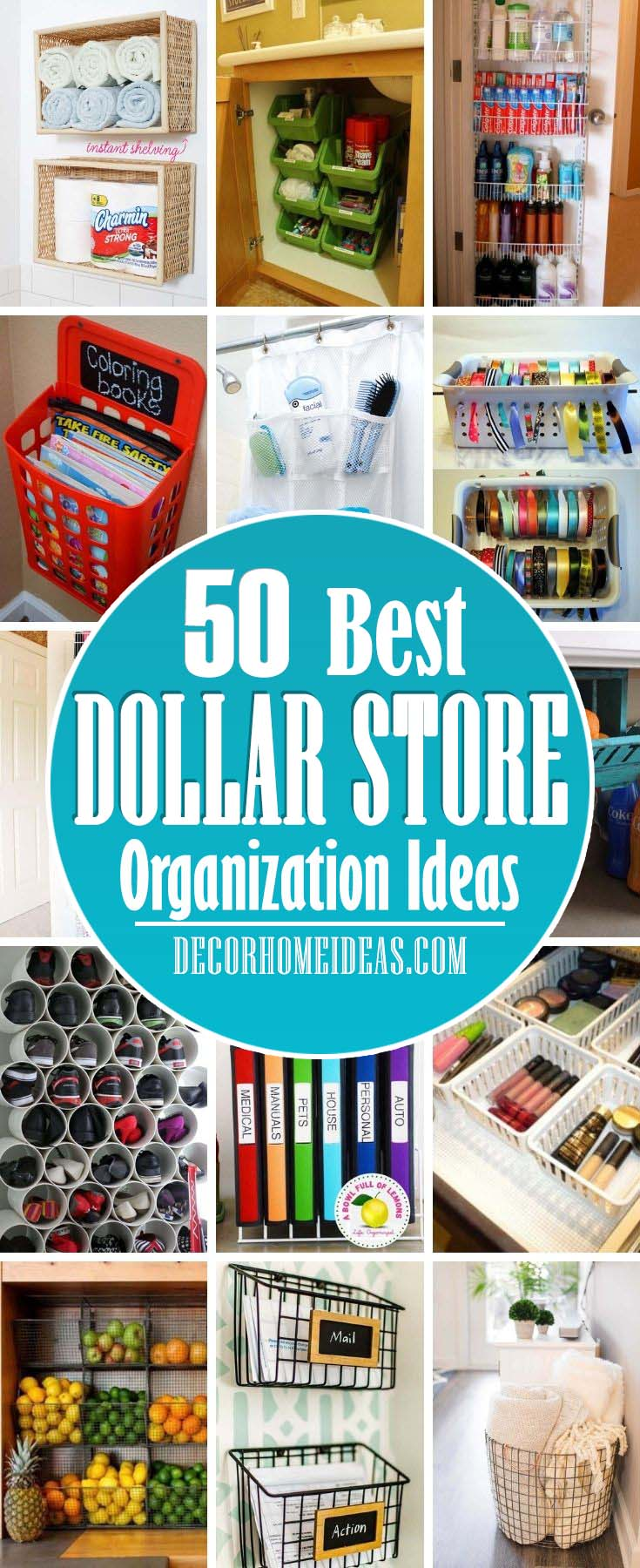 Best Dollar Store Organization Storage Ideas. Are you looking for some cheap and easy ideas to make your home neat and tidy? Organize for less with these creative dollar store organization and storage ideas #decorhomeideas